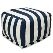 Majestic Home Goods Blue Vertical Stripe Large Ottoman - Navy