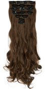 """S-noilite17"""" Long Curly Wavy Light Brown Clip in on 8 Pieces Full Head Set Hair Extensions 8pcs Hairpiece Extension for Girl Lady Women"""