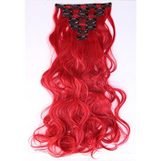 """S-noilite 17""""24"""" Long Curly Wavy Clip in on 8 Pieces Full Head Set Hair Extensions 8pcs Hairpiece Extension Many Colours for Girl Lady Women"""