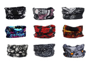 Pack of 9PCS, Outdoor Multifunctional Sports Magic Scarf, Magic Bandanas Tube, Seamless Scarf, Collars Muffler Scarf Face Mask, High Elastic Magic Headband with Uv Resistance, Headscarves, Headbands