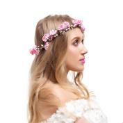 Valdler Flower Crown Wedding Hair Wreath Beach Floral Headband Garland Pink