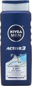 Nivea For Men Active3 Body Wash for Body, Hair & Shave, New Value Pack Size 500ml Bottles
