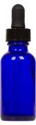 Cobalt Blue Glass Boston Round Bottle w/ Black Glass Dropper 30ml 6 Pack