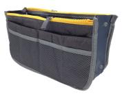 LEFV™ Handbag Organiser Liner Insert 13 Compartments Nylon Comestic Gadget Purse Multi-function Travel Makeup Pouch Organiser Tidy Pocket Double Zipper Case Toiletry Bag Grey