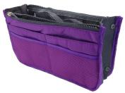 LEFV™ Handbag Organiser Liner Insert 13 Compartments Nylon Comestic Gadget Purse Multi-function Travel Makeup Pouch Organiser Tidy Pocket Double Zipper Case Toiletry Bag Purple