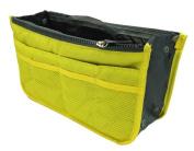 LEFV™ Handbag Organiser Liner Insert 13 Compartments Nylon Comestic Gadget Purse Multi-function Travel Makeup Pouch Organiser Tidy Pocket Double Zipper Case Toiletry Bag Yellow