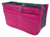 LEFV™ Handbag Organiser Liner Insert 13 Compartments Nylon Comestic Gadget Purse Multi-function Travel Makeup Pouch Organiser Tidy Pocket Double Zipper Case Toiletry Bag Hot Pink