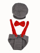 Baby Photograpy Suit Hot Pilot Style Handwork Crochet Wool Clothing with Hats Photography Stutio Props Grey