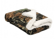 Baby Infant Camo Accent Soft Sherpa and Plushed Lined Coral Fleece Gift Blanket