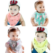 Cocoly 4-Pack 100% Soft Organic Cotton Double Sided Bandana Drool Bibs Scarf Triangle Baby Bibs With Snaps For Baby Toddler