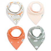 Matimati Baby Bandana Drool Bibs with Snaps, 4-Pack Extra Absorbent for Girls