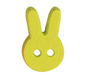 Set of 60, Baby Sweater Buttons Cartoon Rabbit Decorative Buttons, Yellow
