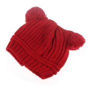 Sankuwen Dual Balls Cute Kids Knitted Beanie Warm Hat