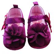 Aivtalk Baby Satin Toddler Princess shoes with Flower 12cm Purple