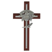 Cherry Stained Cross with Silver Cross & Pewter Chalic Gift Box Included 18cm Length