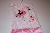 Lollypop Rosette Embroidered Blush Pink Birdie Baby Blanket