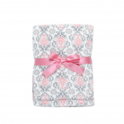 Baby Gear Plush Velboa Ultra Soft Baby Blanket 30 x 40, Pink Grey Curls