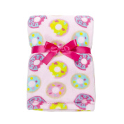 Baby Gear Plush Velboa Ultra Soft Baby Blanket 30 x 40, Pink Colourful Donuts