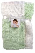 Blankets & Beyond Soft Swirl Patchwork Light Green & White Baby Blanket