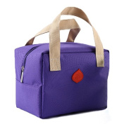Ecokaki(TM) Three Layers Thermal Insulation Lunch Tote Lunch Bag Canvas Travel Picnic Handbag Snack Bag, Purple