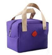 Ecokaki(TM) Three Layers Thermal Insulation Lunch Tote Lunch Bag Canvas Travel Picnic Handbag Snack Bag, Purple