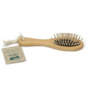 Massage Hairbrush, Wood with Rubber Bristles (Med), 1 ea