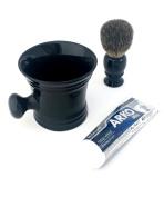 100% Pure Badger Hair Shaving Brush with Ceramic Apothecary Mug and Arko Cream