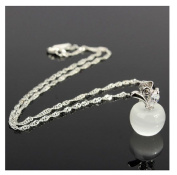 Sweet Clear Rhinestone Opal Apple Pendant Necklace Silver Chain by 24/7 store