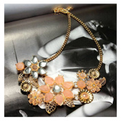 Pink Vintage Crystal Flowers Choker Bib Statement Pendant Necklace by 24/7 store