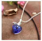 Royal Blue Crystal Heart Shaped Pendant Necklace For Women Wedding Jewellery by 24/7 store