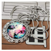 # 30.3lxy Sky Nebula Space Glass Cabochon Silver Alloy Pendant Necklace by 24/7 store