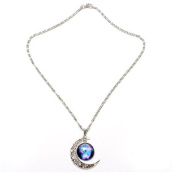 # 41.6lxy Moon Universe Glass Cabochon Crescent Pendant Chain Necklace by 24/7 store