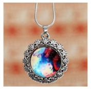 # 26.5lxy Sky Nebula Space Glass Cabochon Silver Alloy Pendant Necklace by 24/7 store
