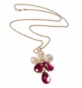 Crystal Rhinestone Five Leaves Flower Golden Chain Pendant Necklace by 24/7 store