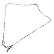 Silver Rhinestone Pearl Circle LOVE Letter Pendant Necklace by 24/7 store