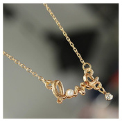 Gold Rhinestone Pearl Circle LOVE Letter Pendant Necklace by 24/7 store