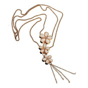 Opal Crystal Three Flowers Double Layers Long Golden Chain Necklace by 24/7 store