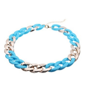 Blue Thick Chain Bib Statement Necklace Chunky Choker by 24/7 store