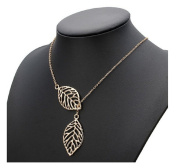 Vintage Gold Big Leaf Pendant Clavicle Chain Necklace For Women by 24/7 store