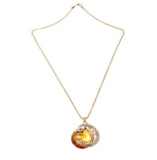 Yellow Women Moon Crystal Rhinestone Pendant Sweater Necklace Metal Chain by 24/7 store