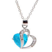 Sky Blue Rhinestone Crystal Double Heart Pendant Necklace For Women by 24/7 store