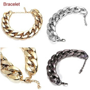 Silver Bracelet Thick Gold Chain Collar Statement Jewellery by 24/7 store