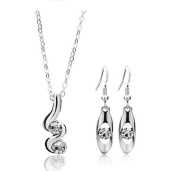 White Spiral Crystal Rhinestone Jewellery Set Wedding Necklace Earrings by 24/7 store