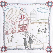 Stamped White Wall Or Lap Quilt 90cm x 90cm , Barn