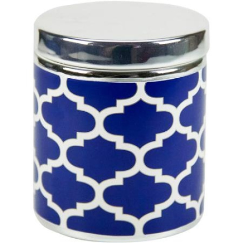 Mainstays fretwork covered jar navy white 11street for Navy bath accessories