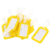 Suitcase Rectangle Shaped Yellow White Plastic ID Name Label Luggage Tag 10 Pcs