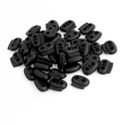40 x Black 4mm Dia Double Hole Spring Toggles Stop Plastic Bean Cord Locks