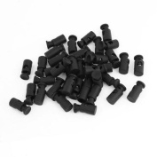 40 Pcs 5.5mm Dia Single Hole Rope Cord Locks Ends Drawstring Toggles Black