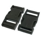2 Pcs 2.5cm Black Spare Parts Packbag Plastic Side Quick Release Buckle
