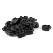 Black Plastic 5mm Dia Double Holes Bean Cord Lock Stoppers 20 Pcs